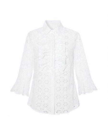Sangallo retro chic πουκάμισο NaraCamicie T6907-FO8967