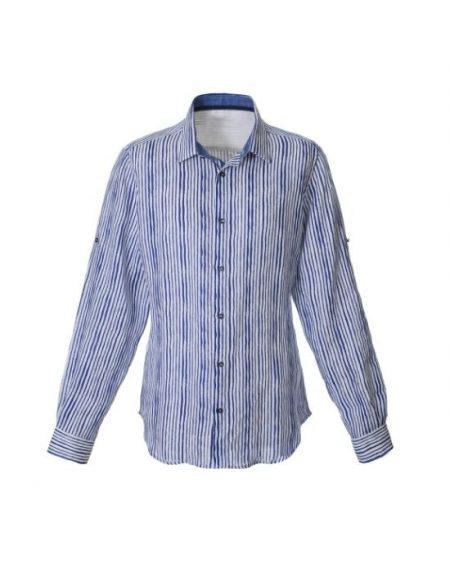 Brushed stripe λινό πουκάμισο F2112-LA0198