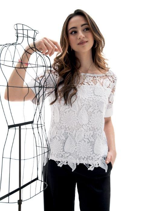 Crop δαντελένια μπλούζα NaraCamicie T6924-DO8997
