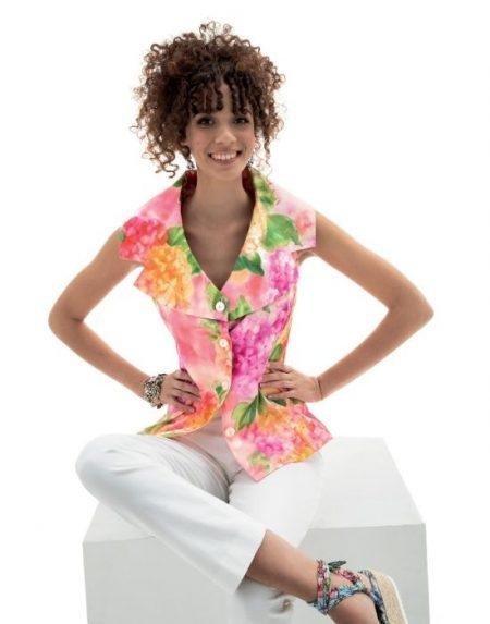 {el}Floral blossom πουκάμισο NaraCamicie T6914-DO8975