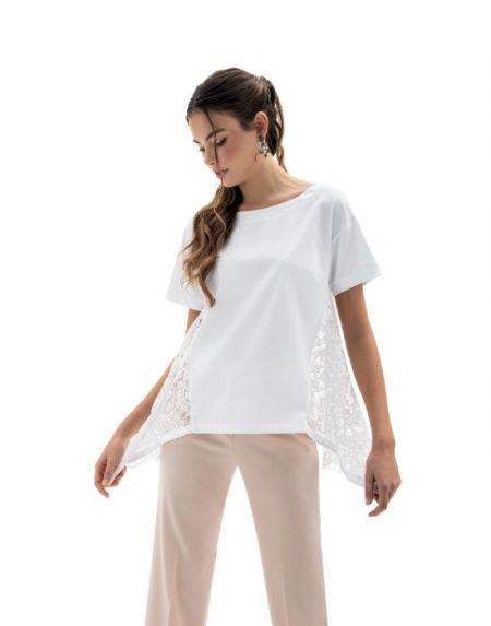 Ασσύμετρη δαντελένια μπλούζα NaraCamicie T6901-DO9085