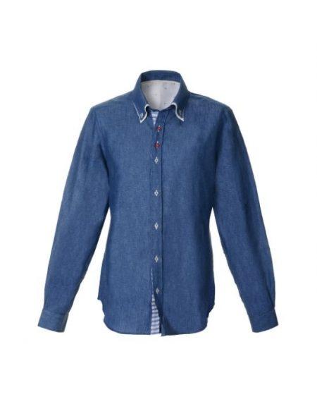 Λινό ανδρικό πουκάμισο NaraCamicie E1908-LA0197