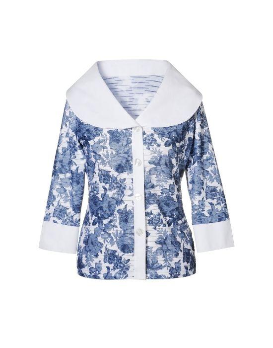 Onde floral blossom πουκάμισο NaraCamicie T6954-FO9072