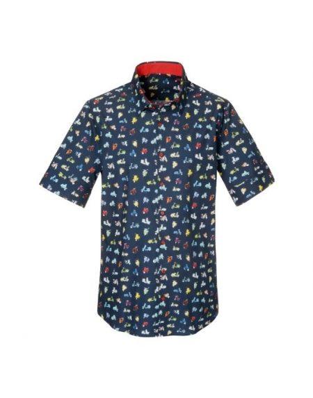 Ανδρικό πουκάμισο με τύπωμα i vespi  NaraCamicie T6922-PO3031