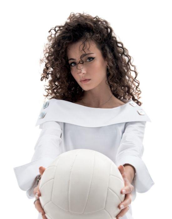 Off the shoulder βαμβακερή μπλούζα με madre de perla κουμπιά NaraCamicie YOOO3-F39082