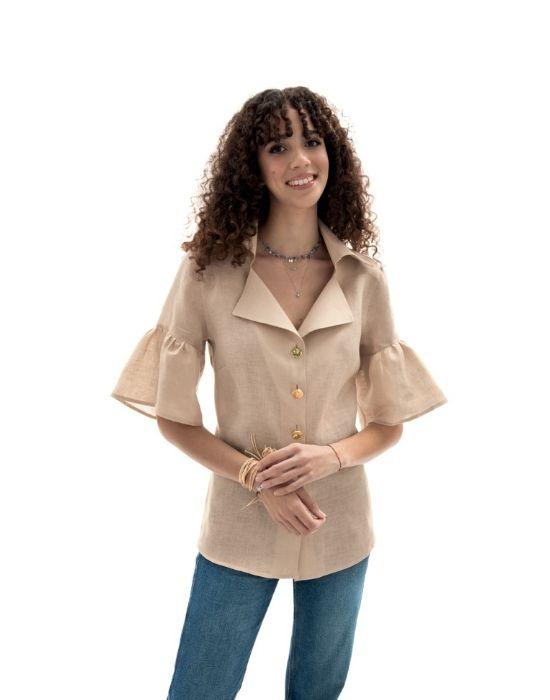 Λινό πουκάμισο με ballon μανίκια NaraCanicie TOO10-DO9099