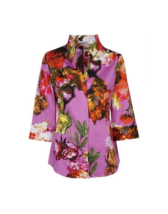 Floral bouquet patterned πουκάμισο NaraCamicie T6962-FY4926