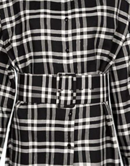 Tartan black & white ασύμμετρη πουκαμίσα Nara Camicie T7030-FO9185