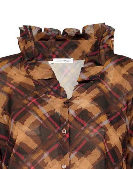 Pleated collar γυναικείο πουκάμισο Nara Camicie T7007-FO9141