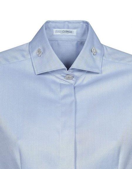 Oxford πουκάμισο με Swarovski κουμπιά Nara Camicie T3892-FO9154